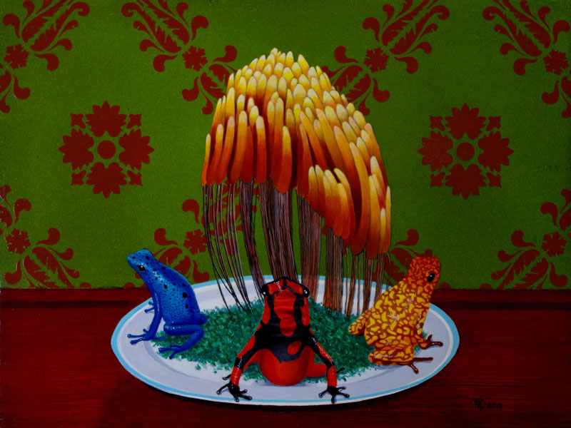 Slime Mold and Poison Arrow Frogs on a Bed of Parsley by Bob 'Omar' Tunnoch