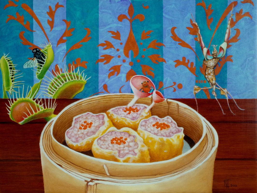 Dim Sum with Venus Fly Trap, Praying Mantis and Poison Arrow Frog by Bob 'Omar' Tunnoch